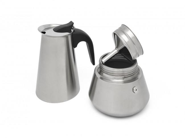 Espressomaker Trevi voor 6 kops, mat RVS
